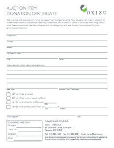 eus 2017 auction item donation certificate okizu